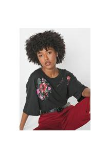 Camiseta Lança Perfume Floral Preta