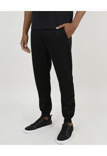 Calça Masculina Relaxed Em Moletom Com Cordão E Bolsos Preta
