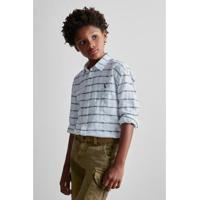 Camisa Infantil Reserva Mini Textura Horizontal Masculina - Masculino-Branco efd7821f7b4