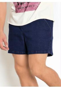Bermuda Azul Em Moletom Efeito Jeans