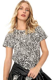 Camiseta Colcci Animal Print Off-White/Preta