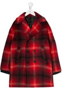 Nº21 Kids Check Patterned Textured Coat - Vermelho