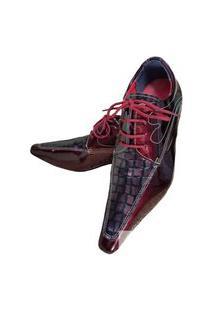 Sapato Masculino Italiano Oxford Em Couro Art Sapatos Vinho Escama