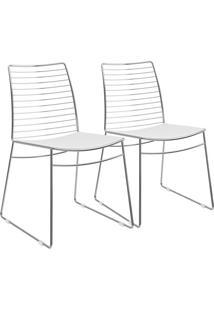 Kit 2 Cadeiras Em Couríssimo Branca Cromada 1712 Móveis Carraro