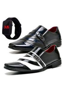 2 Pares Sapato Social Fashion Com Relógio Led Dubuy 631-632El Azul