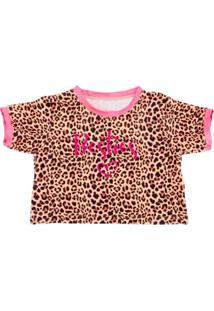 Blusa Infantil Yoyo Cropped Onça Pink - Kanui
