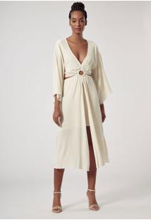 Vestido De Crepe Saia Assimetrica Argola Branco Perola