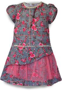 Vestido Mini Cherie La Fleuriste Xadrez