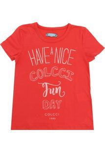 Camiseta Colcci Fun Manga Curta Menina Vermelha