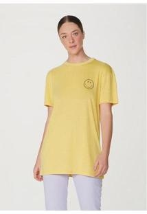 Camiseta Alongada Manga Curta Oversized Smiley® Feminina - Unissex-Amarelo
