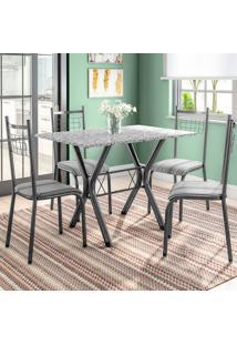 Conjunto De Mesa Miame Com 4 Cadeiras Lisboa Preto E Preto Listrado