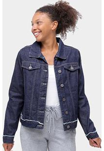 Jaqueta Jeans Uber Bolsos Feminina - Feminino-Azul Escuro