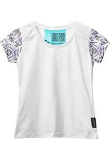Camiseta Baby Look Feminina Algodão Manga Curta Macia Estilo - Feminino-Branco+Preto