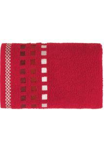 Toalha De Rosto Calera- Vermelha & Branca- 49X70Cm
