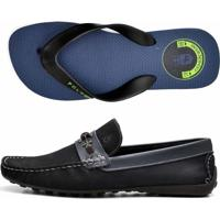 84a1e909d6 Kit 2 Pares Mocassim E Chinelo Polo Culture Preto Azul