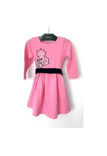 Vestido Infantil Dolce Bambina Patchs Rosa