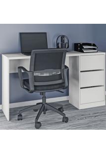 Mesa Para Computador 3 Gavetas 5105R Branco Fosco - Atualle Móveis