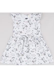 Vestido Infantil Estampado De Unicórnios Com Babado Sem Manga Cinza Mescla Claro