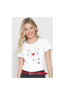 Camiseta Enfim Jogo Da Velha Branca