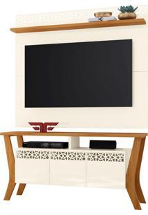 Rack Bancada Prime 03 Portas Com Painel Para Tv City New Off White/Coral - Frade Movelaria