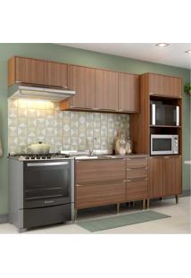 Cozinha Compacta Multimã³Veis Com 4 Peã§As Calã¡Bria 5457 Nogueira - Incolor/Marrom - Dafiti