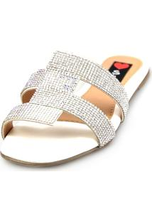 Rasteira Confort Flat Love Shoes Pala Recortes Strass Brilho Branco - Kanui