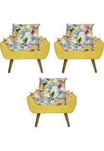 Kit 3 Poltronas Decorativas Kasa Sofá Opala Color Amarelo