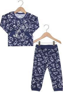 Pijama Puc Longo Menino Azul