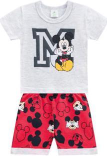 Conjunto Curto Bebê Menino Disney Mescla Claro
