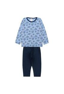 Pijama Manga Longa Infantil Masculino Azul Bola
