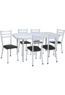 Conjunto De Mesa Com 6 Cadeiras Beatriz Corino Preto E Branco