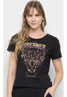 Camiseta Colcci Dreamer Night Queen Feminina - Feminino-Preto