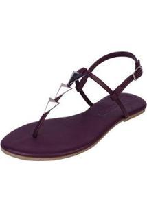 Rasteira Flat Pirâmide Mercedita Shoes Confortável Dia A Dia Casual Feminina - Feminino-Roxo