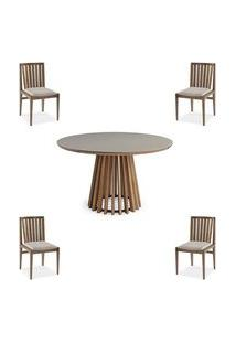 Conjunto Mesa Tampo Off White + Cadeiras Brisa Encosto Ripado - 60479 Off White