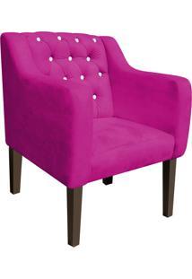 Poltrona Decorativa Lisa Suede Pink Com Strass - D'Rossi