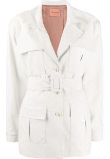 Andamane Cher Faux-Leather Fringed Jacket - Branco