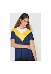 Camiseta Lacoste Tricolor Azul-Marinho/Amarela