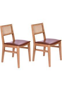 Conjunto Com 2 Cadeiras De Jantar Tereza Marrom E Castanho