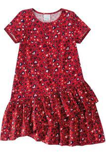 Vestido Com Babados Infantil Malwee Kids Vermelho - 6