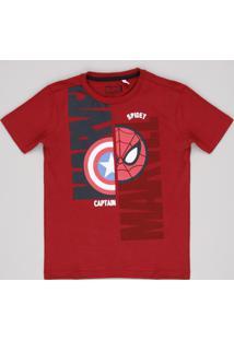 Camiseta Infantil Homem Aranha Capitão América Manga Curta Vermelha