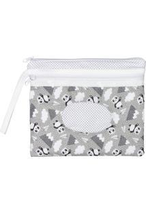 Necessaire De Bebê Panda Mescla Com Porta Lenço Umedecido Mescla - Kanui