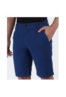 Bermuda De Sarja Masculina Slim Chino Azul
