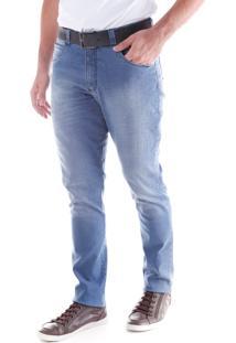 Calça Jeans Slim Lavada 5 Bolsos Azul Indigo Traymon 2218