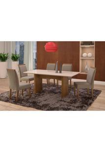 Conjunto De Mesa De Jantar Com 6 Cadeiras E Tampo De Madeira Maciça Milão Reta I Suede Cinza E Off White