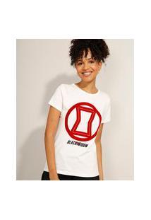 Camiseta De Algodão Viúva Negra Flocada Manga Curta Decote Redondo Off White