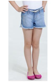 Short Infantil Jeans Cinto Strass Estrelas Marisa