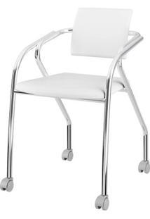 Cadeira 1713 Cromado Com Napa Branca - 27690 - Sun House
