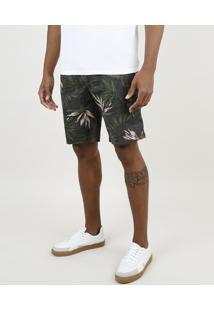 Bermuda De Sarja Masculina Slim Estampada Floral Com Bolsos Cinza Mescla Escuro