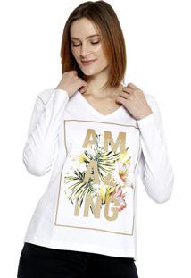 T-Shirt Manga Longa Energia Fashion Branco