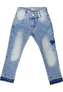 Calça Jeans Infantil Oznes Menina Azul - 1
